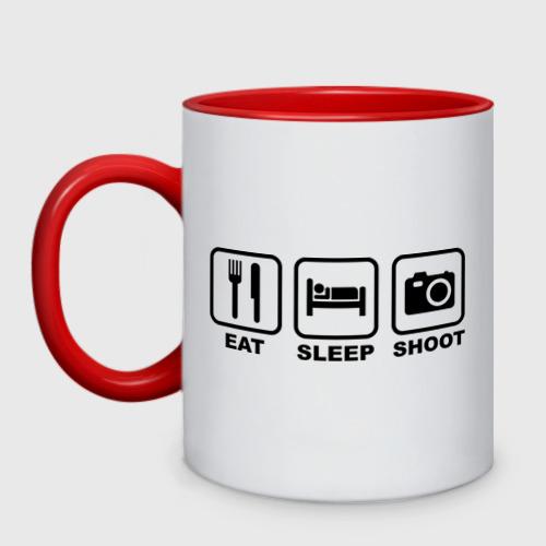 Кружка двухцветная Eat Sleep Shoot (Ешь, Спи, Фотографируй)