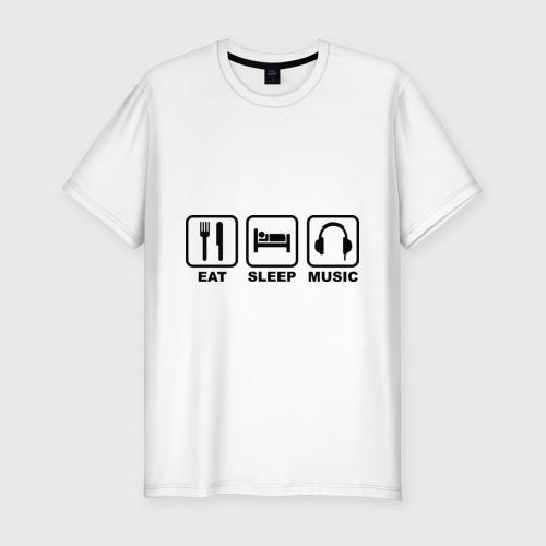 Мужская футболка хлопок Slim Eat Sleep Music (Еда, Сон, Музыка)