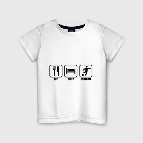 Детская футболка хлопок Eat Sleep Football (Еда, Сон, Футбол)