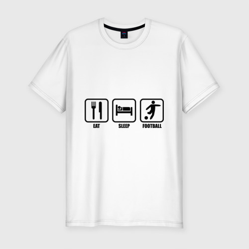 Мужская футболка хлопок Slim Eat Sleep Football (Еда, Сон, Футбол)