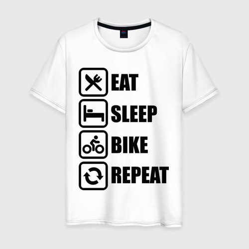 Мужская футболка хлопок Eat Sleep Bike Repeat