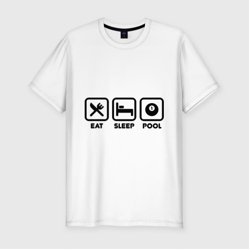 Мужская футболка хлопок Slim Eat Sleep Pool (Еда Сон Бильярд)