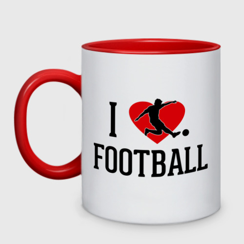 Кружка двухцветная Я люблю футбол