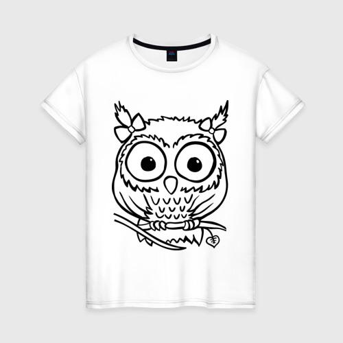 Женская футболка хлопок Сова скетч