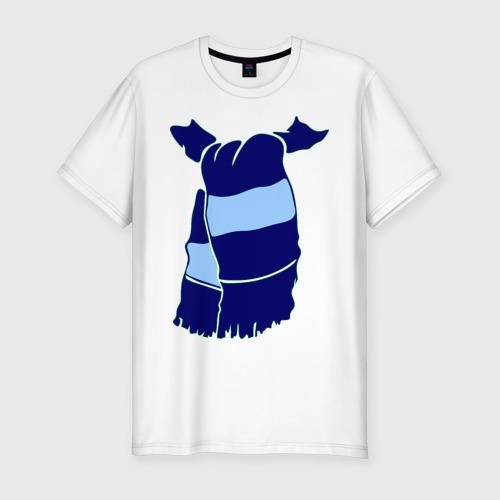 Мужская футболка хлопок Slim Сине-голубой шарф