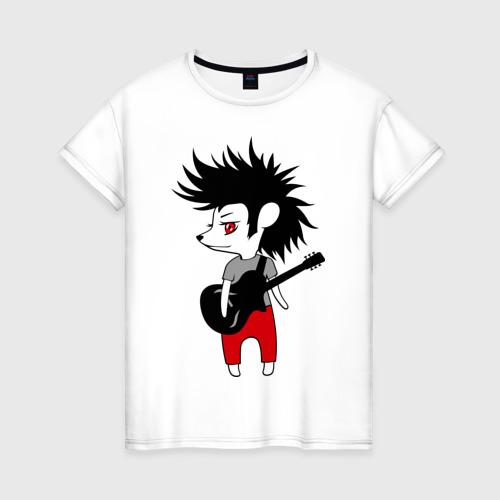 Женская футболка хлопок Ежик рок музыкант