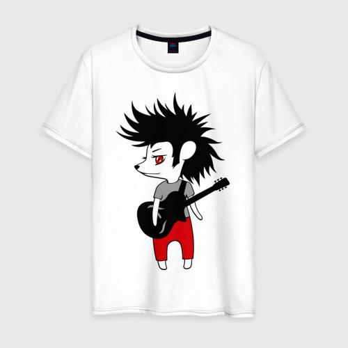 Мужская футболка хлопок Ежик рок музыкант