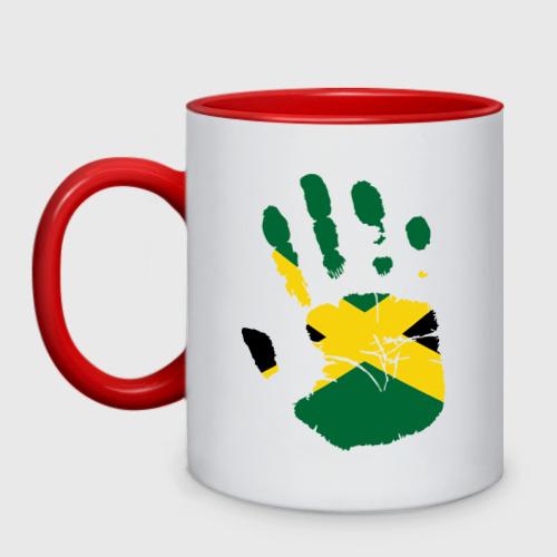 Кружка двухцветная Рука Ямайки