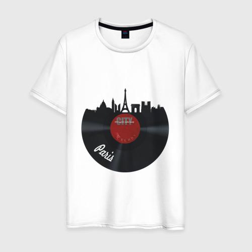 Мужская футболка хлопок Париж, черный винил