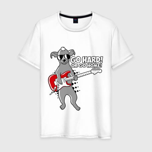 Мужская футболка хлопок Собака с гитарой (Go hard or go home)