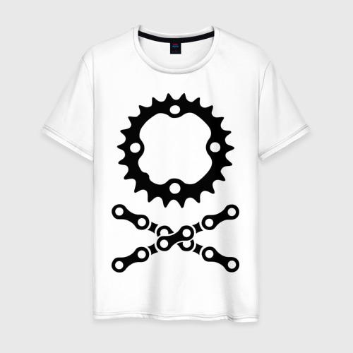 Мужская футболка хлопок Велосипедная цепь и звездочка