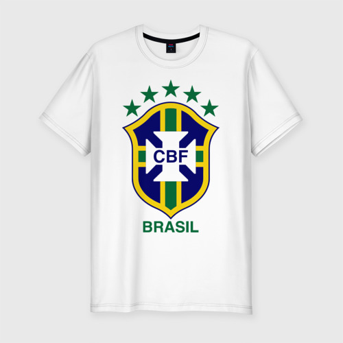 Мужская футболка хлопок Slim Сборная Бразилии по футболу