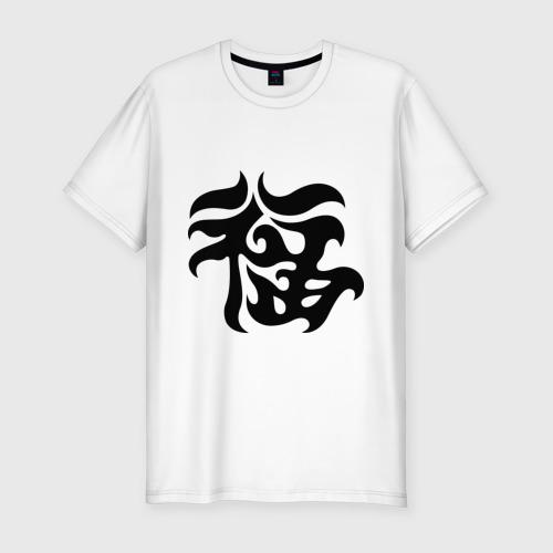 Мужская футболка хлопок Slim Японский иероглиф - Удача
