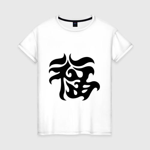 Женская футболка хлопок Японский иероглиф - Удача