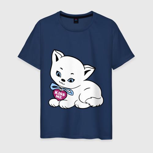 Мужская футболка хлопок Белая кошечка