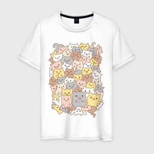 Мужская футболка хлопок Куча котиков