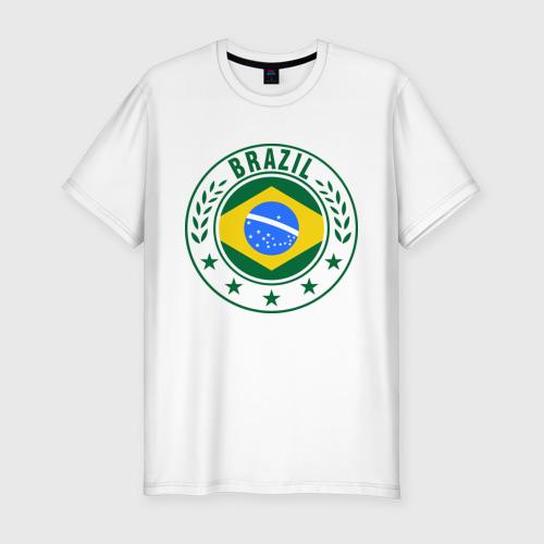 Мужская футболка хлопок Slim Brazil - Бразилия ЧМ-2014
