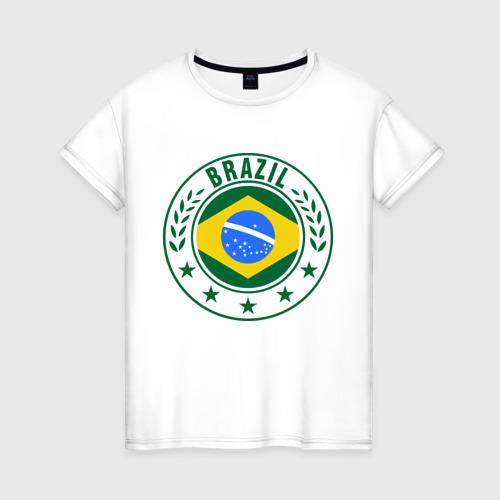 Женская футболка хлопок Brazil - Бразилия ЧМ-2014