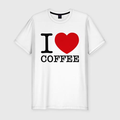 Мужская футболка хлопок Slim I love coffee
