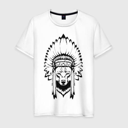 Мужская футболка хлопок Лис-индеец