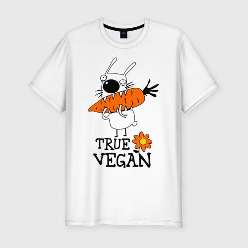 Мужская футболка хлопок Slim True vegan (истинный веган)