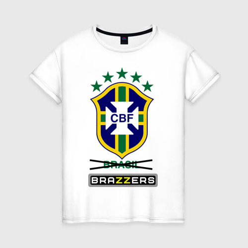 Женская футболка хлопок Сборная Бразилии по футболу