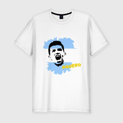 Мужская футболка хлопок Slim Серхио Агуэро (Sergio Aguero)