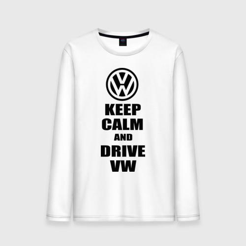 Мужской лонгслив хлопок Keep calm and drive vw