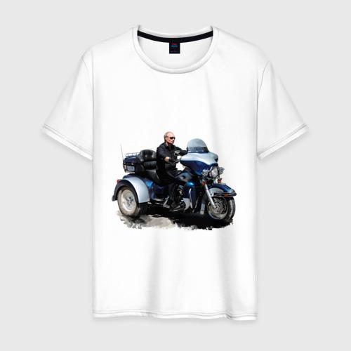 Мужская футболка хлопок Путин на байке