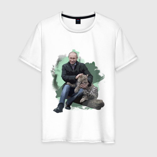Мужская футболка хлопок Путин и леопард