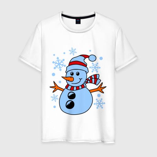 Мужская футболка хлопок Снеговичок