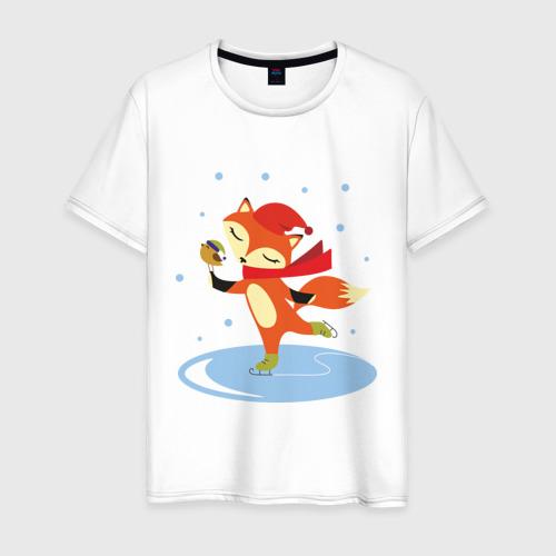 Мужская футболка хлопок Лиса на коньках