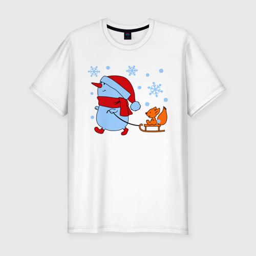 Мужская футболка хлопок Slim Снеговик с санками