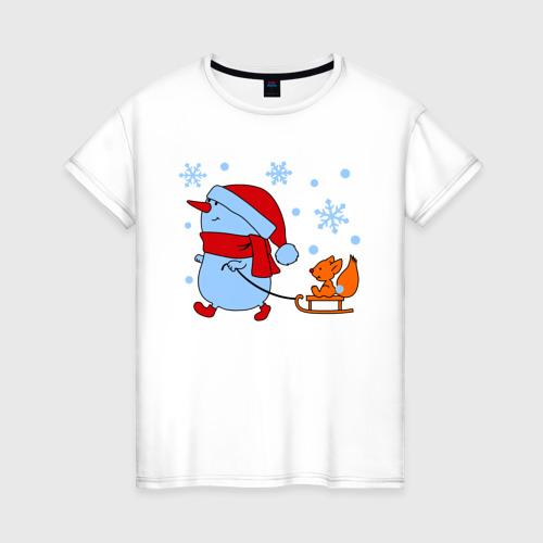 Женская футболка хлопок Снеговик с санками