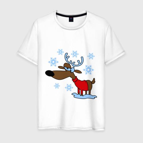 Мужская футболка хлопок Олень в снегу