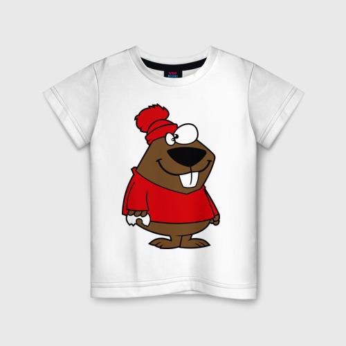 Детская футболка хлопок Бобер