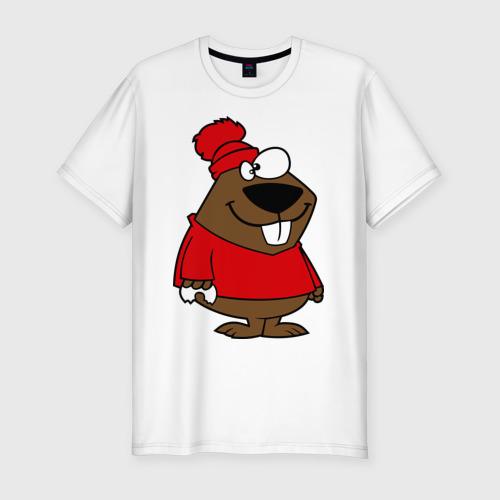 Мужская футболка хлопок Slim Бобер