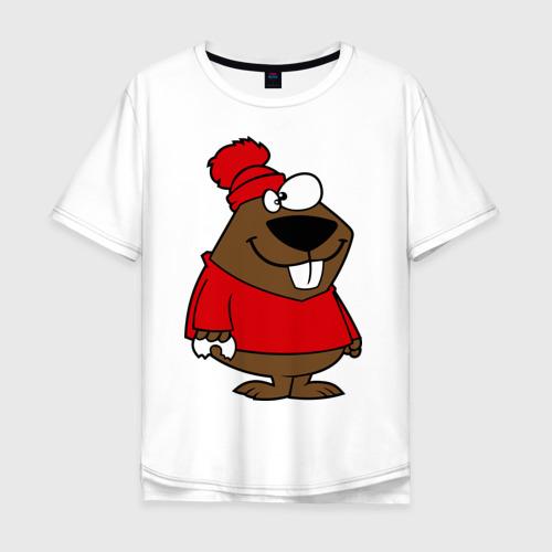 Мужская футболка хлопок Oversize Бобер