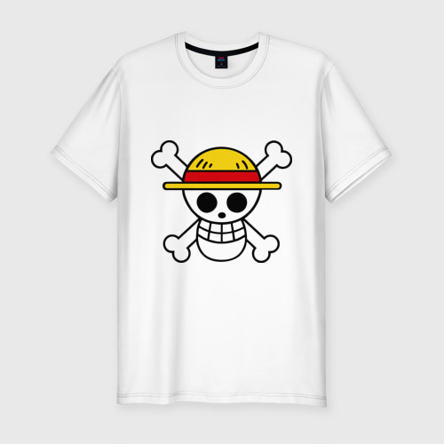 Мужская футболка хлопок Slim Флаг Луффи