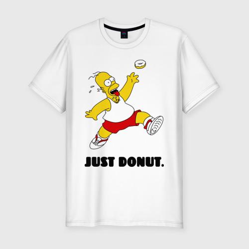Мужская футболка хлопок Slim Гомер Симпсон - Только пончик