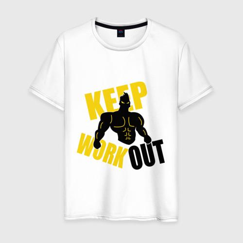 Мужская футболка хлопок Keep workout (тренируйся)