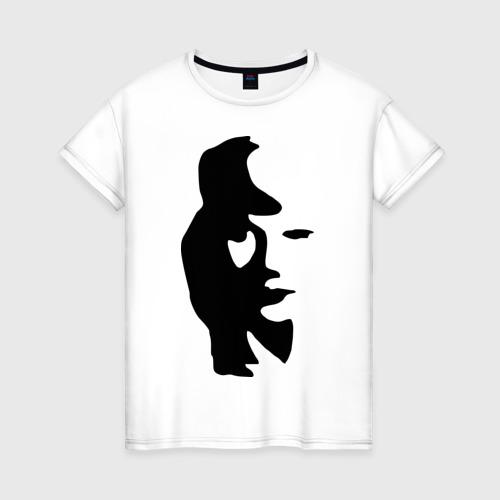 Женская футболка хлопок саксофонист или девушка