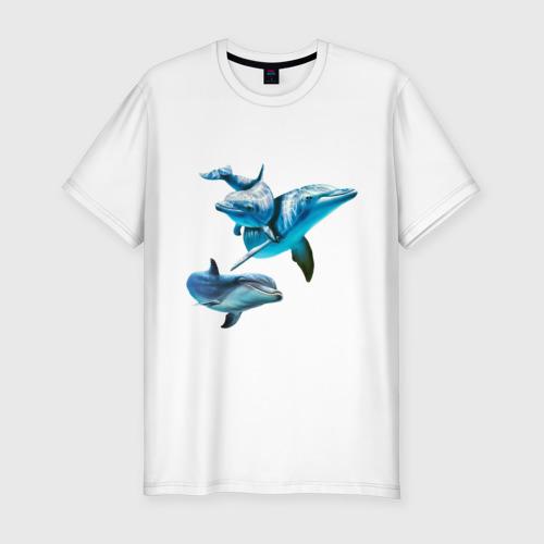 Мужская футболка хлопок Slim Дельфины