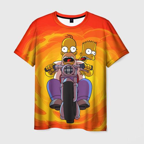 Мужская футболка 3D Симпсоны на байке