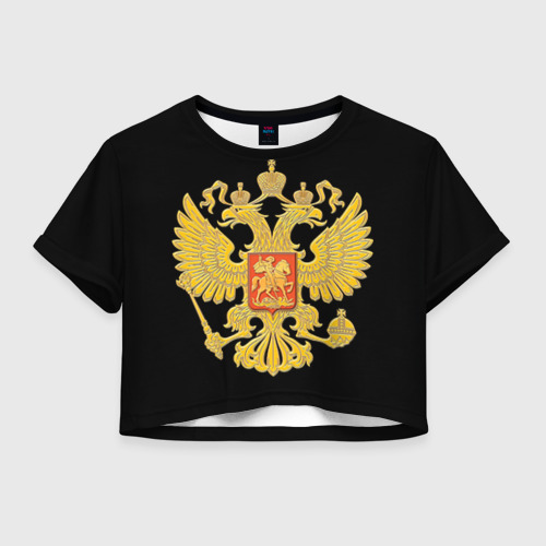 Женская футболка Crop-top 3D Герб России