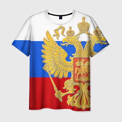 Мужская футболка 3D Флаг и герб РФ