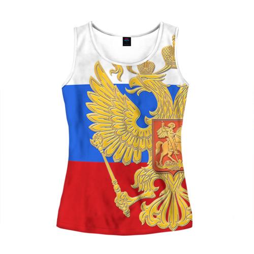 Женская майка 3D Флаг и герб РФ