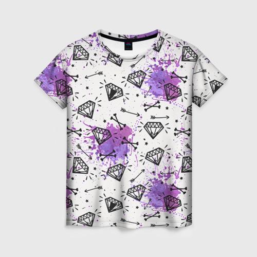 Женская футболка 3D Стрелы и алмазы