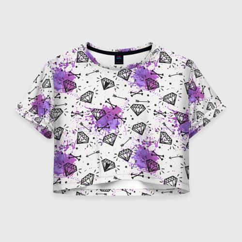 Женская футболка Crop-top 3D Стрелы и алмазы