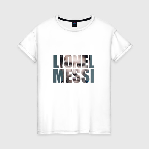 Женская футболка хлопок Lionel Messi face